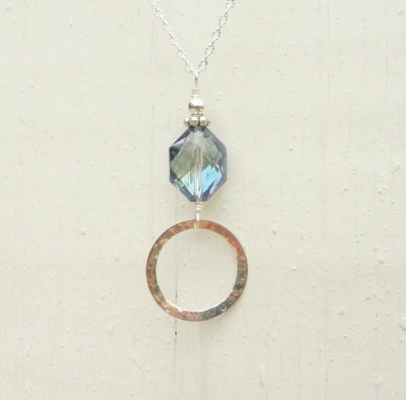 Silver Lanyard with Blue Crystal, Silver Lanyard Eyeglass Holder