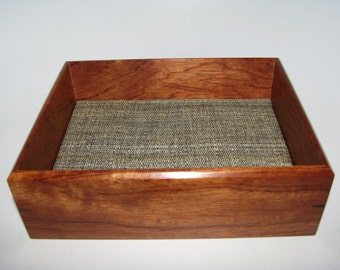 """Valet Box in Bubinga. Wooden Tray Upholstered in Silk. 7.5"""" x 6"""" x 2.5"""". Dresser Box. Remote Tray. Coffee Table Tray."""