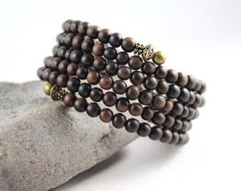 Ebony Wood Wrap Bracelet, Memory Wire Bracelet, Wrap Bracelet, Yoga Jewelry, Wood Bracelet, Cuff Bracelet, Wood Cuff Bracelet, Yoga Jewelry