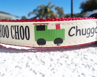 "Sale Dog Collar Choo Choo 3/4"" or 1"" width Side Release buckle - no martingale limited"