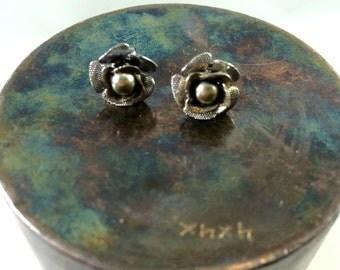 Silver rose earrings