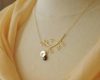 Custom Gold Twig Necklace - Personalized Initial Necklace, Birthstone Necklace, Gold Branch Necklace, Delicate Necklace, Monogrammed Initial