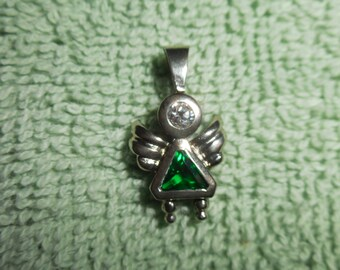 Sterling Silver May Birthstone Angel Pendant