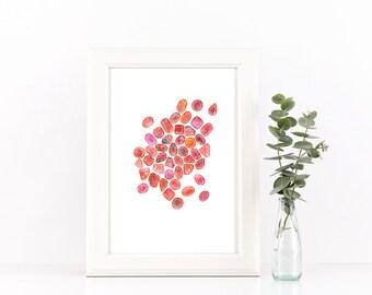 July Birthstone - Birthstone Art - Ruby - Gem Art - Gemstone Art - Ruby Print - Gem Wall Art - Red Decor - Ruby Watercolour - Rubies