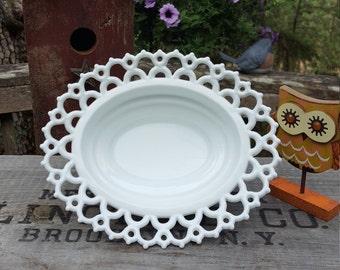 Doric Open Lace Milk Glass Oval Bowl - Wedding Centerpiece - Oak Hill Vintage