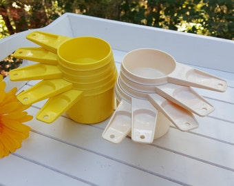 10 Tupperware Measuring Cups - Yellow and Almond - Oak Hill Vintage
