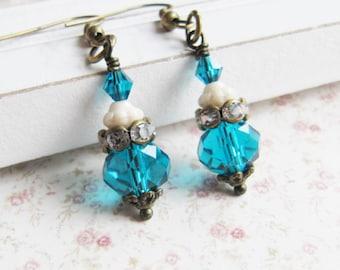 Teal Bridesmaid Earrings, Bridesmaid gift, teal vintage Weddings, crystal earrings, bronze earrings, dangles