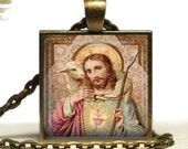 Jesus Christ Glass Tile Pendant Christian Jesus Shepherd Lamb Necklace Religious Catholic Jewelry