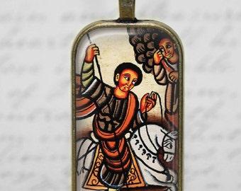 Ethiopian Coptic Art Christian Necklace St George Glass Tile Pendant Necklace Ethiopian Jewelry