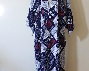 Batik Printed Blue Cotton Full Length Kimono