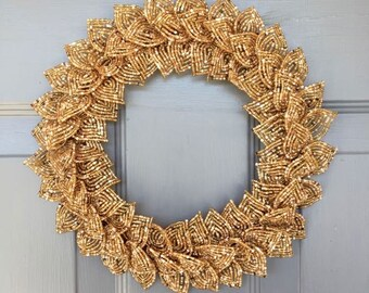 Gold Blend French Beaded Decorative Wreath (Small)