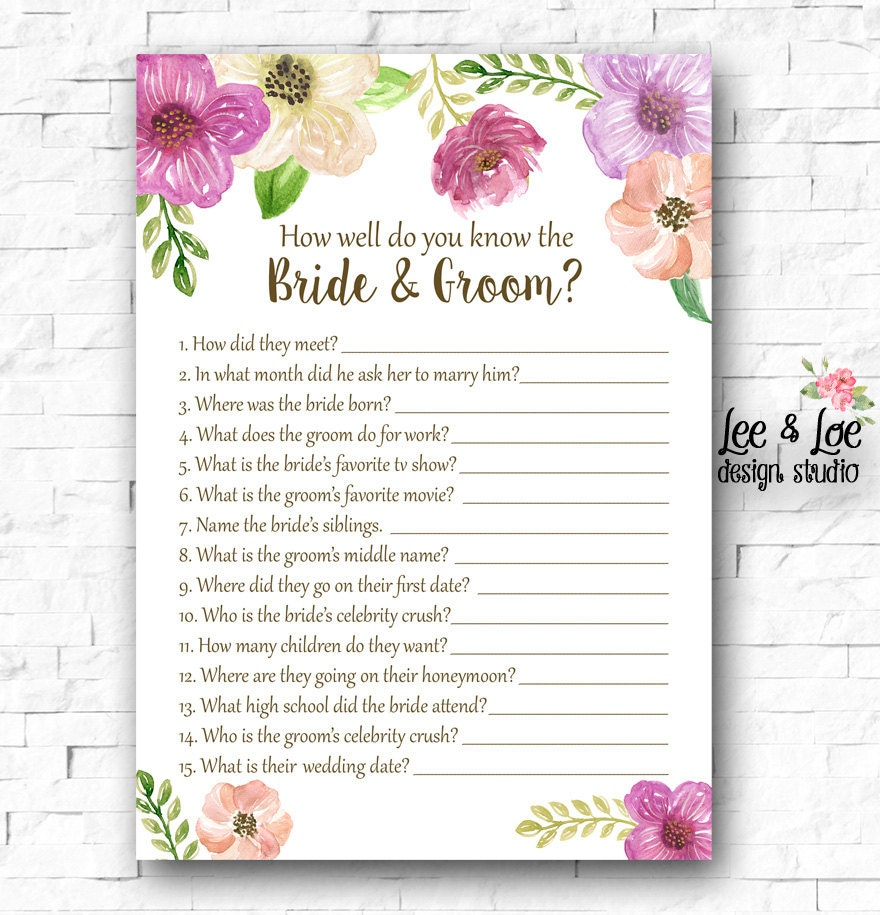 How Well Do You Know The Bride And Groom Wedding By LeeandLoe