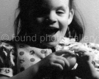 Vintage Photo, Excited Little Girl Holding a Ball, Print Dress, Black & White Photo, Found Photo, Old Photo, Snapshot  *133215-Ph-2-002.jpg