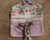 Clothes Line Pin Peg Bag Holder  - Pink Roses and Stripe Ticking -Vintage Wood Hanger-Closet Lingerie Bag
