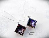 Heliotrope Jewel Earrings, Purple Crystal Victorian Earrings, Victorian Jewelry, Gothic Jewelry