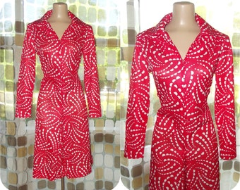 Vintage 70s Dress | 1970s Op-Art Dress | Red White Polka Dot Print | Space Age MOD |  60s Scooter Girl | Size Large X-Large