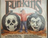 Vintage 3 Foot Tall Halloween Leaves Bag - Skull & Vampire - Allied Funkins - Made in USA