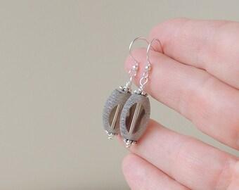 Grey Drop Earrings, Large Grey Bead Earrings, Grey Bead Jewelry Jewellery, UK (2135)