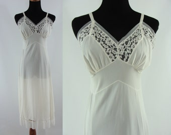 Vintage Sixties Slip - 1960s White Slip with Pleated Trim - 60s White Night Gown - Vintage Nightgown