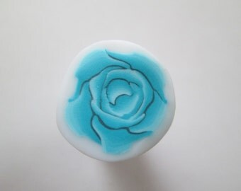 Light Blue Cane, Rose Polymer Clay Cane, Flower Cane, Millefiori Polymer Clay Cane, Canes, Unbaked Cane, Jewelry, Nail Art, FIMO