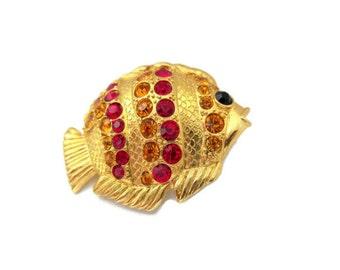 angel fish rhinestone brooch, red, yellow, rhinestones, gold tone, nautical, ocean, beach wedding, tropical fish brooch, vintage