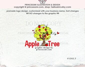1242-3 Apple tree logo, Premade Logo Design, sketch hand drawn , Apple with love heart  logo , school, kids daycare logo