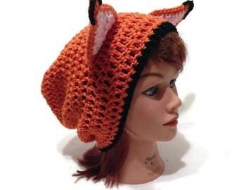 Orange Fox Hat, Fox Ears, Fox Hat, Slouchy Fox Hat, Fox Ears, Fox Cosplay, Slouchy Animal Hat, Fox Costume, Kawaii Foxes, Fox, Hat with Ears