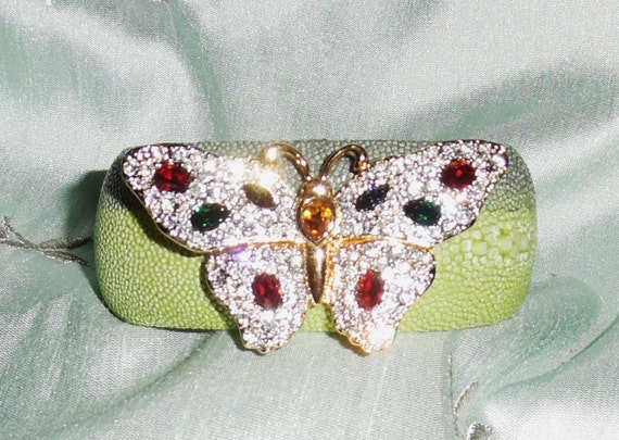"""GENUINE Exotic Stingray Blue, Green Polished Exotic Leather, Signed Swarovski Crystal Butterfly Brooch, 1 1/4"""" Cuff Bracelet"""