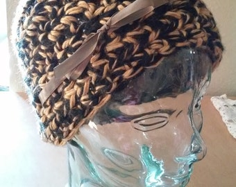 Black and Gold Crochet Beanie With Gold Ribbon