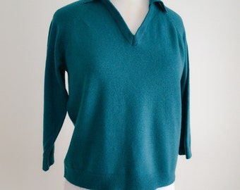 1950s Dark green wool V neck sweater / 50s fully fashioned jumper top - M L