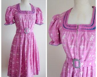 1940s lilac novelty print dirndl dress / 40s zip front Bavarian dress - S