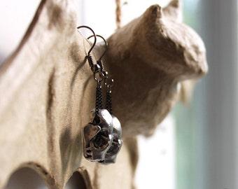 Miyu Decay Pewter Bat Skull Earrings