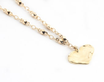 SALE-Gold Heart Necklace-layering necklace, heart necklace, gold necklace, boho, statement