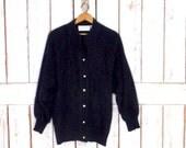 Vintage beaded black angora wool knit cardigan sweater/80s Dolman sleeve slouchy sweater/medium