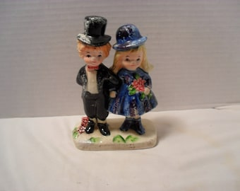 Vintage Bride and Groom Couple Figurine Cake Topper Enesco Japan