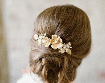 Brass Floral Wedding Headpiece, Gold Flora Hair Piece, Gold Hair Vine, Crystal Bridal Headpiece, Flower Bridal Headpiece SOMNER