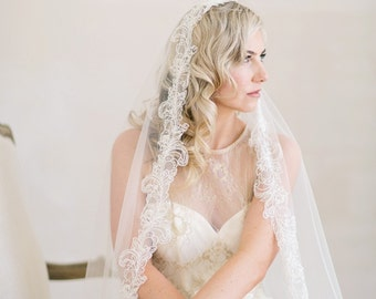 Mantilla Veil, Wedding Veil, Chapel Length Wedding Veil, Lace Veil, Beaded Lace Veil, Ivory Veil,  Bridal Veil, Tulle Veil,