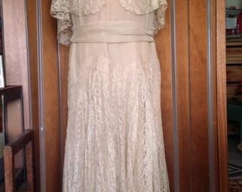 Antique Vintage 20s 30s Art Deco Silk Chiffon, Lace Dress, Cape Seashell White M
