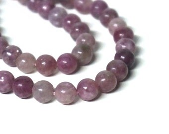 Natural pink LEPIDOLITE beads, 6 - 7 mm round gemstone, full & half strands available   (1126S)