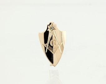 Antique Masonic Pin - 14K Gold & Diamond 1890