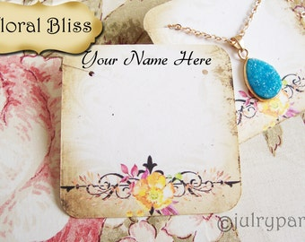 24•FLORAL BLISS•Necklace and Earring Cards•Jewelry cards•Necklace Card•Display•Earring Holder•Necklace Holder
