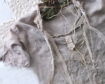 Rustic Primitive Prairie Handmade Infant Dressing Gown. Shabby tattered Farmhouse prim collectible