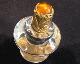 1940s Table Lighter Vintage STRIKALITE Glass Amber Jeweled Depression Glass Cigarette Lighter EXCELLENT WORKING