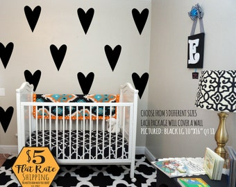 HEART Wall Decal / confetti hearts, heart decal, gold heart decal, heart wall decor, wall stickers for girls, wall decals for teens