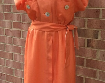 Vintage dress, Norman Wiatt, orange, silk? , fall vintage, 10