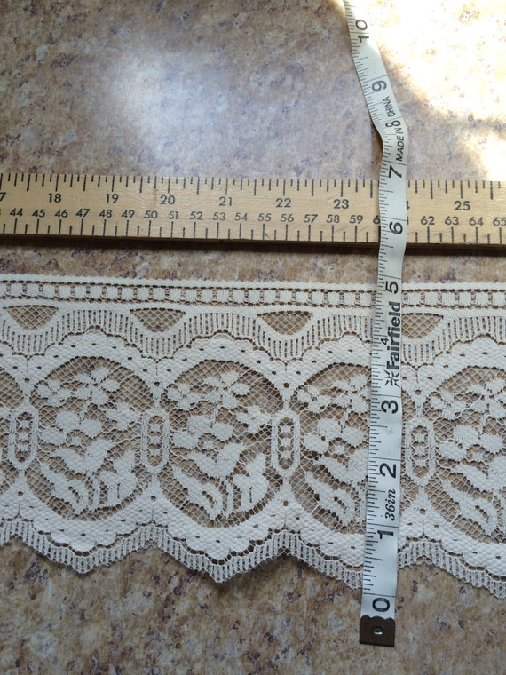 PER YARD IVORY lace trim doll clothes doll making sewing bridal wedding wide craft favors cosplay costume baptism floral flower Halloween