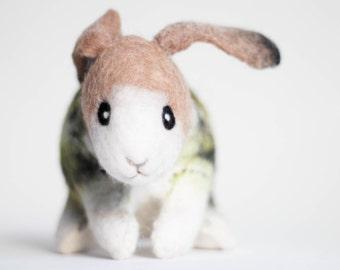 Felt Bunny - Dan. Art Toy. Handmade Felted Stuffed Nursery decor Stuffed plush animal gift for kids children. SPECIAL ORDER for Ada