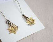 Anchor and Wheel earrings, Nautical earrings, Gold and bronze, Boho earrings