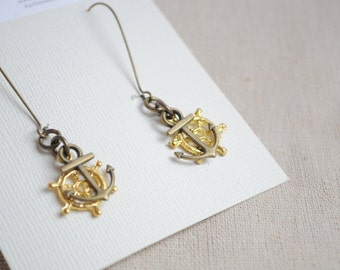 Anchor and Wheel earrings, Nautical earrings, Gold and bronze, Boho earrings