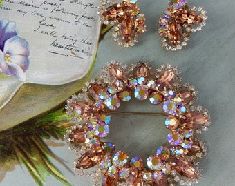 JULIANA Topaz Wreath Brooch & Earrings Set